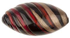 Murano Glass Bead Garnet Black Large Missoni Oval 34mm
