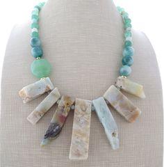 Amazonite necklace chunky necklace sky blue bib by Sofiasbijoux