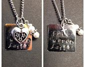 Hand stamped Love Never Fails necklace 1 Corinthians 13:8