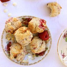 Mini Raspberry White Chocolate Scones. Perfect for a Valentine's Day Tea Party!