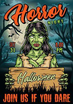 Halloween Night Poster Design with Zombie Girl. Find lots of Halloween vector design illustrations on www.dgimstudio.com. Halloween Party Flyer, Halloween Vector, Halloween Design, Halloween Night, Zombie Girl, Vector Design, Shirt Designs, Illustration, Poster