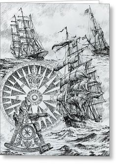 Tall Ship Drawings Drawing - Maritime Heritage by James Williamson Ancient Maps, Sextant Tattoo, Old Sailing Ships, Nautical Art, Pirate Life, Old Maps, Vintage Maps, Ship Art, Tall Ships