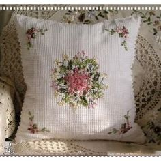 Hand ribbon embroided pillow cover