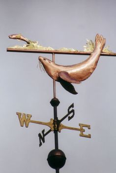 Custom Copper Weathervane - Seal with Fish
