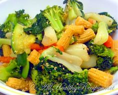 Steamed vegetables with honey sesame dressing. Made this for dinner last night. Everyone loved it! I Sauteed the veggies in the wok instead of steaming them, but the sweet honey dressing was wonderful! Steam Vegetables Recipes, Steam Recipes, Steam Veggies, Steamed Vegetables, Vegetable Recipes, Vegetarian Recipes, Cooking Recipes, Healthy Recipes, Steamed Food