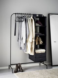 """Ikea mulig clothes rack (10.) """"I will pop these up wherever I have some space, next to my front door or in the bedroom. Maximizing otherwise empty space means your wardrobe itself will stay less cluttered! And again, a decorative element too in the house!"""" — Audrey Leighton of Frassy"""