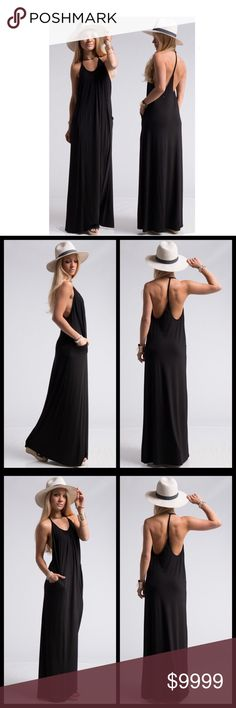 00be35097c Jersey Knit Pocket Maxi-Black How perfect is this maxi dress for the Summer  season! It screams comfort while keeping it sexy.