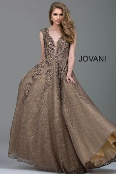 Floor length taupe embroidered lace evening ballgown features embellished  sleeveless bodice with plunging v neck and. Evening Gowns With SleevesGold  ... 7dc2c196b
