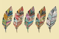 Collection of vintage tribal ethnic hand drawn colorful feathers royalty-free stock vector art