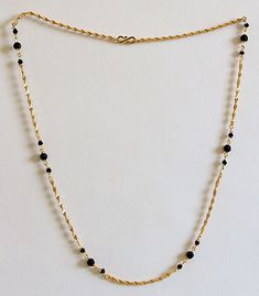Gold Plated Chain with Black Crystal Beads - Necklaces (Metal)