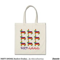 PARTY ANIMAL Rainbow Donkey Piñata Birthday Fiesta Tote Bag