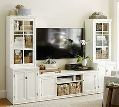 Logan Media Suite with Glass Towers #potterybarn