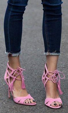 #summer #trending #shoes | Pink Tassel Heels