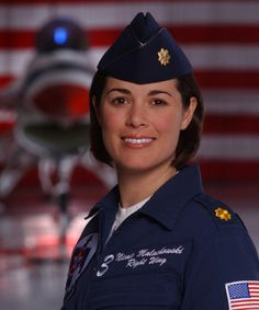 Thunderbird Pilot Maj. Nicole Malachowskilucky woman..I always wanted to fly a jetwas not allowed in my day. aircraft girls aviation girls planes and girls girls girl Flight attendant babe babes model