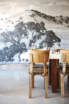 Farmshop Marin Dining Table and Mural. Designed by Commune Design || Remodelista