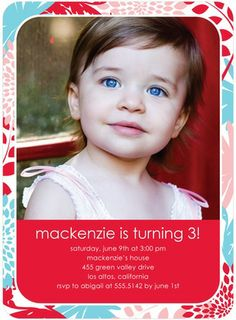 Floral Design - Birthday Party Invitations - Hello Little One - Bright Red - Red : Front