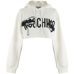 Moschino ''Eyes'' Hooded Cotton Crop Sweatshirt (5.262.905 IDR) ❤ liked on Polyvore featuring tops, hoodies, bianco, crop tops, long sleeve tops, cotton crop top, white top and cut-out crop tops