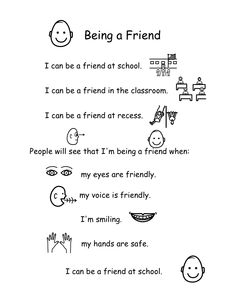 Behavior support story for how to be a friend created on Boardmaker Elementary School Counseling, School Social Work, School Counselor, First Grade Classroom, Future Classroom, Classroom Ideas, Friendship Lessons, Positive Behavior Support, Social Thinking