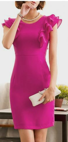 Buy Midi Dress For Women from Misslook at Stylewe. Online Shopping Stylewe Rose Midi Dress Sheath Dress Frill Sleeve Work Ruffled Solid Dress, The Best Date Mi Elegant Midi Dresses, Pretty Dresses, Beautiful Dresses, Casual Dresses, Short Dresses, Fashion Dresses, Dresses For Work, Formal Dresses, Prom Dresses