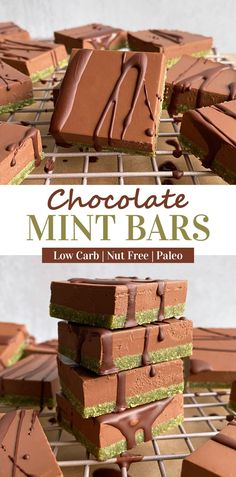 These low carb chocolate mint bars have a soft, green cookie crust that's covered in a smooth layer of chocolate and coconut cream and drizzled with dark chocolate. These coconut bars are minty, low in sugar, Paleo and Vegan friendly. #mintchocolate #coconutcream #paleo #vegan #lowcarb #keto Dairy Free Keto Recipes, Eggless Recipes, Egg Free Recipes, Vegan Recipes, Healthy Vegan Desserts, Paleo Vegan, Paleo Dessert, Healthy Baking, Chocolate Topping