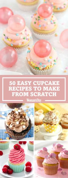 Easy Cupcake Recipes to Make From Scratch No matter the occasion, we've got a cupcake recipe to fit the bill. You'll impress your guests with the bubble gum frosted cupcakes with gelatin bubbles or the delicious rocky road cupcakes! Frost Cupcakes, Fun Cupcakes, Birthday Cupcakes For Women, Cupcake Ideas Birthday, Bubble Gum Cupcakes, Flavored Cupcakes, Making Cupcakes, Healthy Cupcakes, Coconut Cupcakes