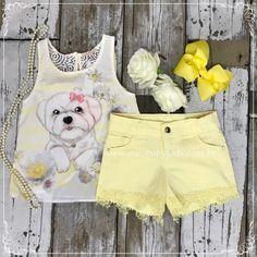 9fb750e5f Conjunto Infantil Amarelo Cachorro Petit Cherie na Euro Baby Kids Look  Meninos, Trilhos, Roupas