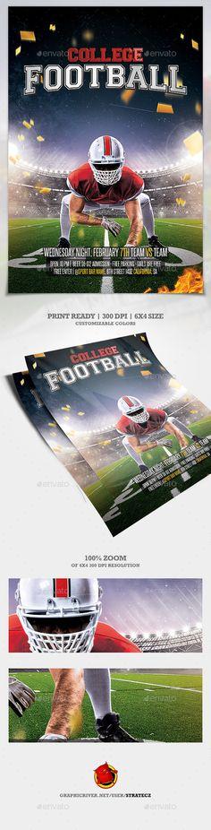 Illustrated American Football Flyer Flyer Templates $900 Flyer