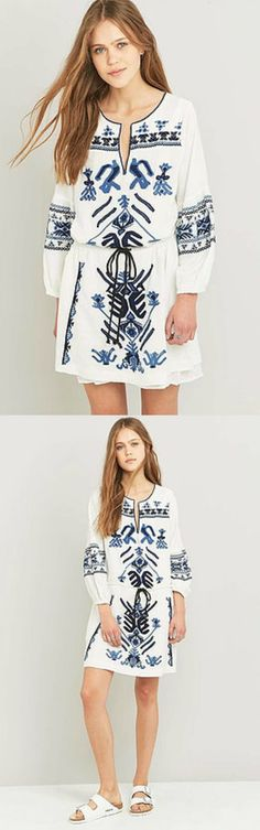 Boho Chic Dress from Pasaboho - $59. Inspired from the trendy boho chic fashion style. This dress exhibits brilliant colours with tribal ethnic embroidered patterns.