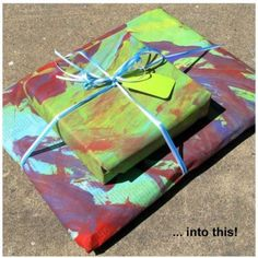 """painted newsprint wrapping paper - good way to use some """"junk mail"""" too."""