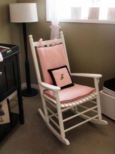 rocking chair cushions for nursery   , nursery, friend's nursery white rocking chair with pink cushions ... White Rocking Chairs, Rocking Chair Nursery, Rocking Chair Cushions, Pink Cushions, Diy Chair, Nursery Chairs, Balcony Table And Chairs, White Dining Chairs, Black Chairs