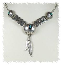 Navajo Sterling Silver Turquoise Shadowbox  Pendant