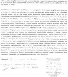 RN POLITICA EM DIA: PILÕES: SOLIDARIEDADE VEICULA ATA DE CONVENÇÃO.