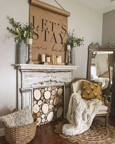 How to Decorate with Fireplace Mantels - Hammers N Hugs From books to logs and jars to flowers there are so many ways to decorate an old fireplace mantel in your home. Farmhouse Fireplace Mantels, Old Fireplace, Bedroom Fireplace, Fireplace Design, Shabby Chic Fireplace, Christmas Fireplace, Fireplace Mantel Decorations, Fireplaces, Vintage Fireplace