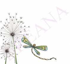 Original Art Dragonfly among the Dandilions by DreanasDragonflyPie, $15.00
