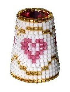 RP:  Beaded Thimble with Swarovski Rivoli Top - Delica Beads Heart - etsy.com
