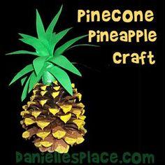 Pinecone Pineapple Craft from www.daniellesplace.com - Great Hawaiin Luau Craft for Kids