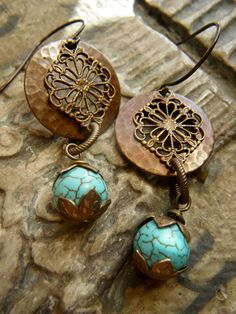 Turquoise And Hammered Vintaj Ring Earrings by Xpressions on Etsy. $20.00, via Etsy.