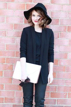 Poor Little It Girl - Express Black Vest, Gap Basic Black T-shirt, G By Guess Coated Black Jeans and Anthropologie Black Fedora