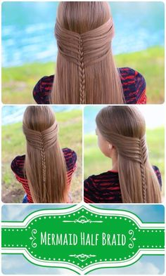 Here's our Mermaid Half Braid tutorial on Kamri, complete with YouTube video, written instructions, & more photos here ⇨ http://www.cutegirlshairstyles.com/?p=7950