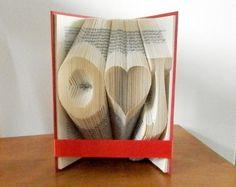 Folded Book Art - Paper anniversary gift - Wedding present - Gift for her - Gift for him - Wedding gift - 1st anniversary gift - Monogrammed