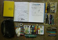 Sketch kit for Alaska trip. Go to the Apple-Pine blog & read Aug 22 - Sept 19, 2012. All about gathering sketching tools, how they worked out & how the trip went.  Very helpful for weather-challenging sketching!