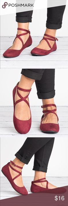 Dobbie Ballerina Flats Wine Add a chic style to your outfit with the Dobie Criss Cross Flat! It features a Faux suede upper with round toe, crisscross ankle straps with buckles, and a rubber outsole.   Style run small - we recommend to get 1/2 size up. Brand new in original box. Bonnibel Shoes Flats & Loafers