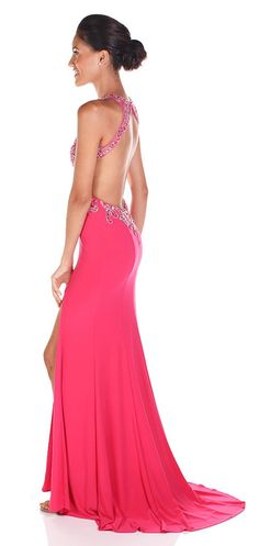 The most fun you'll ever have in a pink dress! Clarisse 2848 Sublime Shining Evening Gown for only $110 Rental fee is an amazing shade of hot pink with some seriously amazing cutouts and open back! The absolute perfect pink prom dress rental!