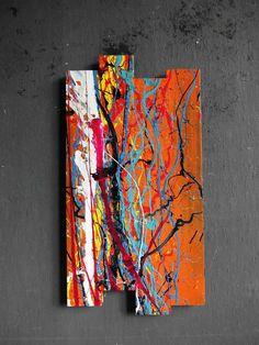 ORIGINAL Wandgebilde abstrakt Malerei Design Modern Bild Skulptur