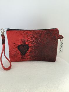 Romantic red distressed leather wristlet....and a little heart lovin appliqué