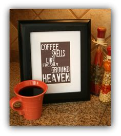 Coffee smells like freshly ground Heaven...etsy.