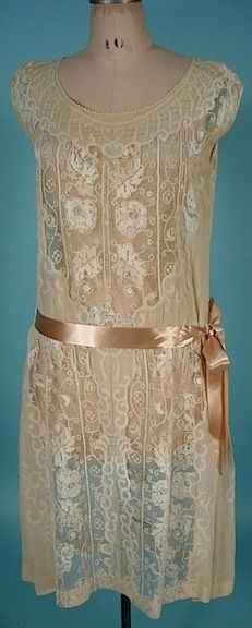 Flapper Overdress of Ecru Colored Filet Lace with Pink Satin Ribbon, 1926.  From antiquedress.com