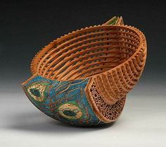 "Hans Weissflog / Binh Pho collaboration - ""Triangle Rocking Bowl"" - Yew, acrylic paint and gold leaf."