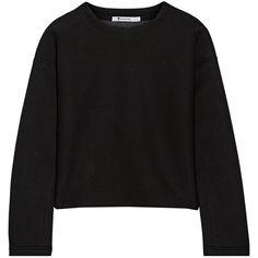 T by Alexander Wang Scuba sweatshirt (175 CAD) ❤ liked on Polyvore featuring tops, hoodies, sweatshirts, black, black loose top, petite sweatshirts, t by alexander wang, loose fit tops and petite tops
