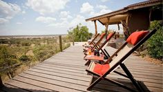 The solar-powered Eagle View eco-lodge is built of durable Kebony wood and recycled steel in Kenya. Wood Deck Designs, Outdoor Chairs, Outdoor Decor, Sustainable Design, Real Wood, Cladding, Solar Power, Beautiful Landscapes, Outdoor Living
